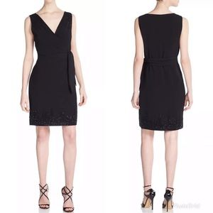 DIANE VON FURSTENBERG Bella Black Faux Wrap Dress